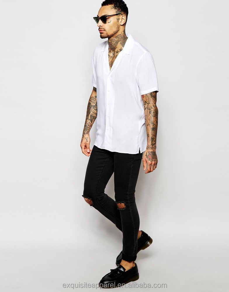 Men's White Viscose White V Neck Short Sleeve Beach Shirts / Fashion Trendy Short Sleeve V neck White Shirts