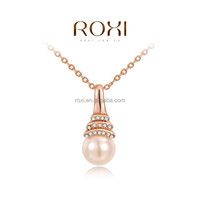 2015 ROXI Fashion Luxury Rose Gold Plated Necklace Pearl Jewelry necklace Charm Pendant Chain necklace Fashion leader jewelry
