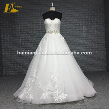 Suzhou Sexy Strapless Ivory Color Organza Fabric China Custom Made Wedding Dress With Crystal Belt