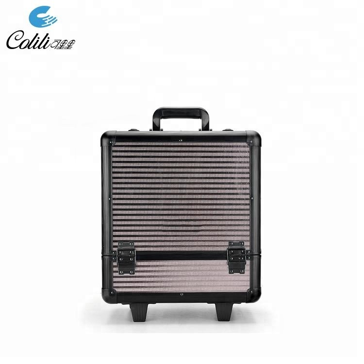 Aluminum trolley travel makeup luggage sets cosmetic jewelry storage case