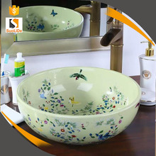 Pure handpainting color glazed artistic industrial ceramic wash basins