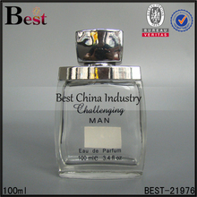 100ml wholesale cosmetics packaging glass bottle for perfume with shiny silver shoulder