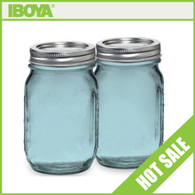 Top Quality 16oz blue mason jars with metal screw top lid wholesale