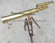 Nautical Brass Double Barrel Telescope with Wooden Tripod Stand \ Brass Telescope