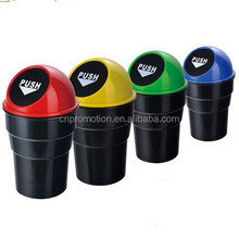 Mini type plastic garbage bin for car