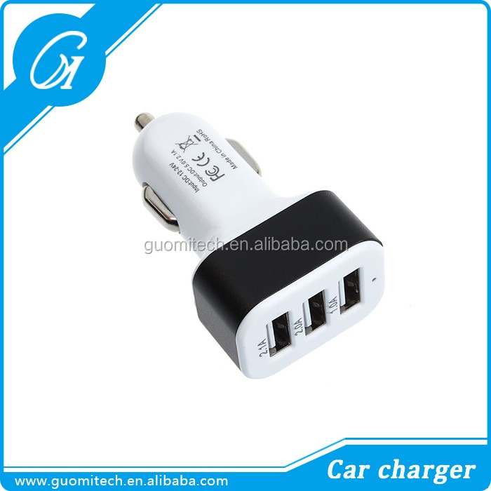 Alibaba hot sale mobile phone accessories triple 3 USB ports auto charger