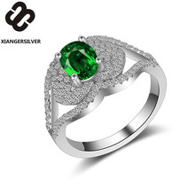 Green Zircon Lip Shape Engagement Ring Cute AAA CZ Rng Wholesale Prong Setting Ring