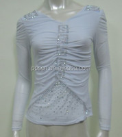Fashion beauty V-neck design slim fit long sleeve white cotton embroidery blouses embroidered with beads