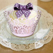 Laser cut paper crafts stationary decoration item special design and goos quality heart cupcake wrappers