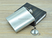 Men Gift Portable Stainless Steel Plastic Liquor Hip Flask 6oz With Funnel Silver Tone