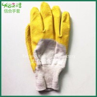 Industrial coated cotton glove yellow nitrile coated glove