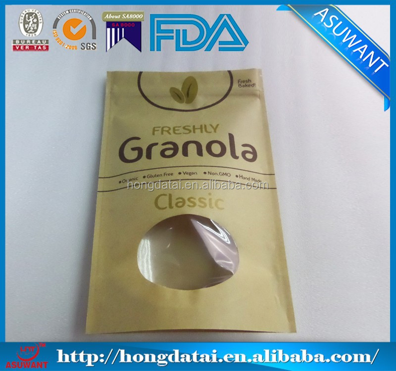 FDA kraft paper bag packaging for granola