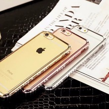 Crystal Electroplating TPU Phone Case 3D Sparkling Diamond Transparent Soft Bumper Cover for iPhone 6 6S Plus