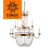 Large 12 lights candle Burnished Brass crystal mosque chandelier