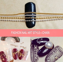Hot sale fashion 3D nail art accessories, 3d metal nail art decoration,1mm 1.2mm brass ball chain wholesale