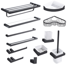 Hot sell stainless steel 304 black bathroom accessories towel rack, shower rack, toilet paper holder bath hardware set