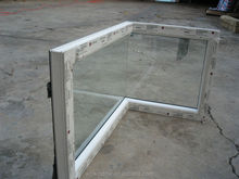Fashion PVC butt joint glass corner window design,PVC fixed window,PVC L type angle window