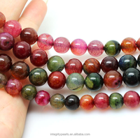 8mm round colorful Natural tourmaline loose agate beads semi gemstone