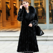 2016 Women Slim Winter Faux Fur Coat Elegant Patchwork Big Fox Fur Collar Casaco Pele Feminino Long Style Formal Fur Coats