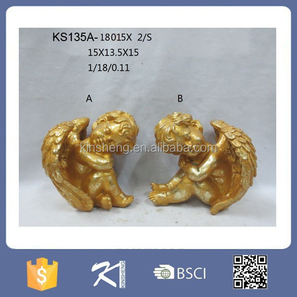 Golden polyresin angel figurine with wings home decoration