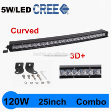 New design curved led bar light 25 inch 120w 10008LM single row led work light for offroad cars suv/atv and etc