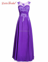 2016 New Fashion Long Chiffon Formal Dresses Sheer Applique Pearls Purple Prom Dresses
