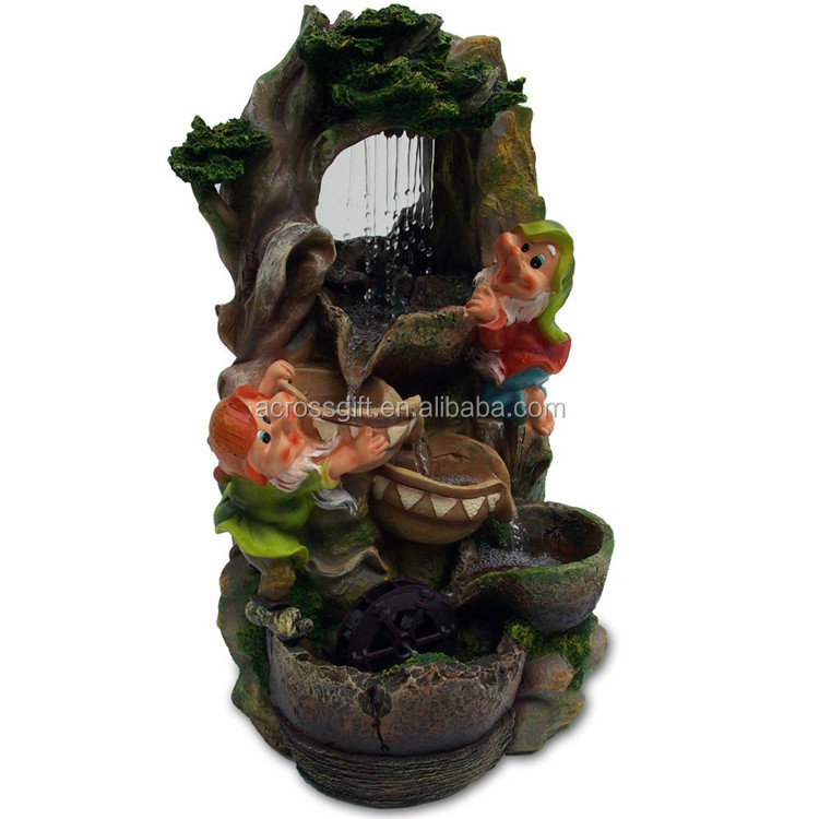 personalized handmade painted garden water fountain garden decoration gnome