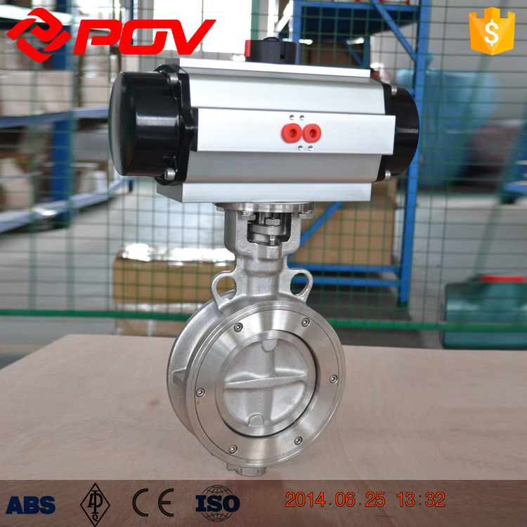 stainless steel PTFE seat pneumatic butterfly valve