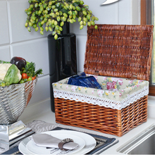 Hot sale kitchen rectangular rattan basket wicker plate basket with lid