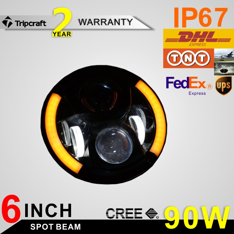 "90w angel eye 6"" round led work light with high bright and high resolution wrangler auto light"