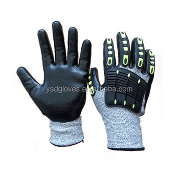 Cut Resistant HPPE Liner Sommth Nitrile Coated Anti-impact TPR Back Working Gloves