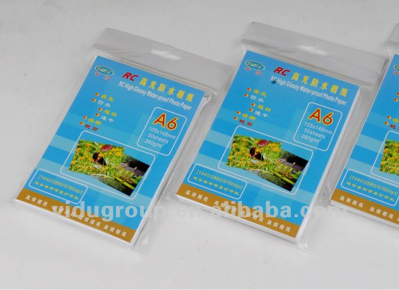 Waterproof, Micro Porous, Resin Coated Glossy Photo Paper
