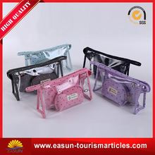 Low price bling cosmetic bag printed logo organza custom fabric bags