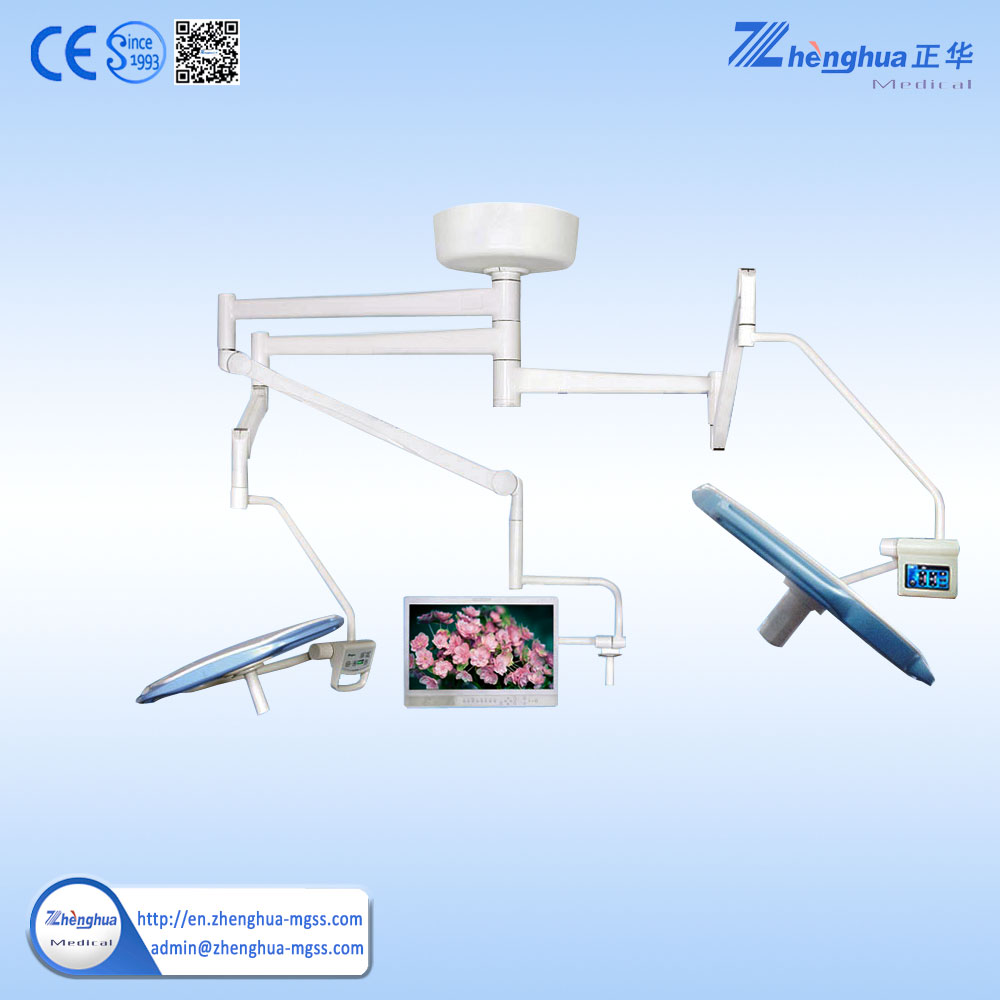 Ceililing Double Dome Shadowless Surgical Lamp with Camera and Monitor System