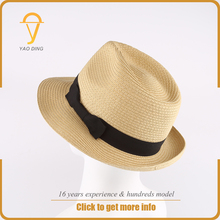 China wholesale cheap price paper straw custom decorate fedora hat for men women