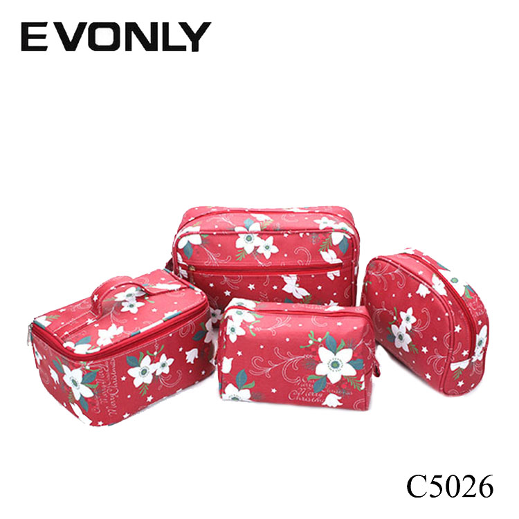 C5026 special offers online shopping red christmas flowers printing canvas cosmetic bag