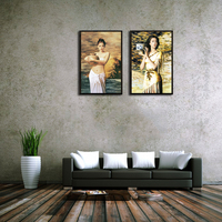 Nude girl painting prints for hotel ferrous wall arts decor