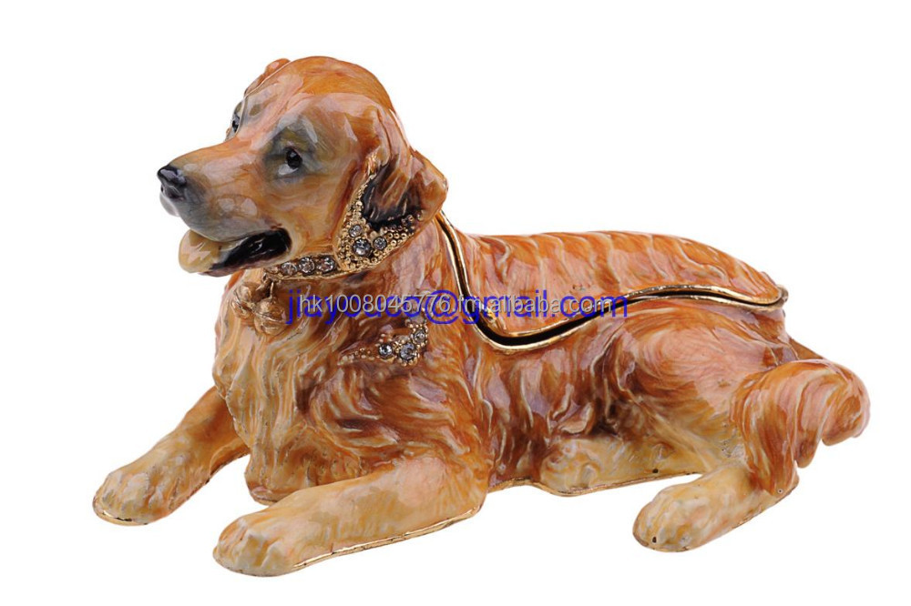 Golden Retriever dog animal shaped trinket box dog keepsake box souvenirs home decoration crafts Russian faberge style box gifts