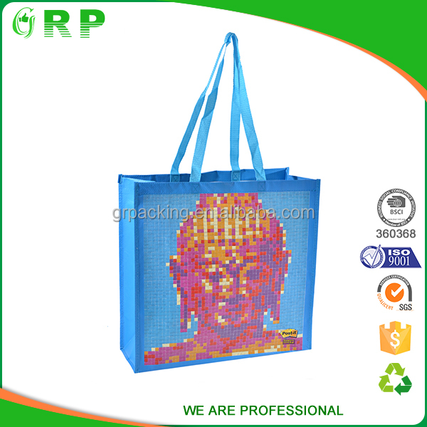 Custom exquisite printing laminated foldable foldable reusable shopping bag