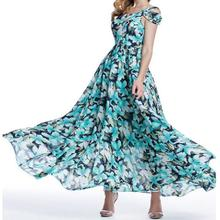 New design summer elegant quality chiffon gown ladies floral print dresses for women