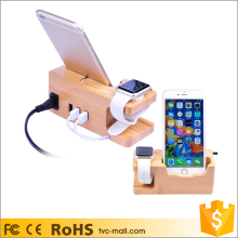 For Apple Watch Charger Dock Mount Carbonized Bamboo 3 USB Ports Desktop Charging Station