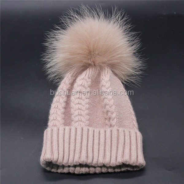 Real Large Detachable Raccoon Fur Pom Pom Beanie <strong>Hat</strong>