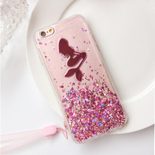 Colorful Mermaid Phone Case for iPhone 6plus 7 Plus Clear Glitter TPU PC Cellphone Cover