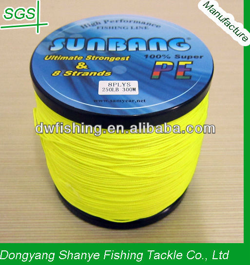 250LB/1.0mm 8 Strands Fluo Yellow Super Strong Japan Braided Fishing Line/ kite line--SUNBANG