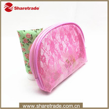 2016 China Factory Wholesale Fashion Sweet Pink Lace PVC Travel Cosmetic Bag Set