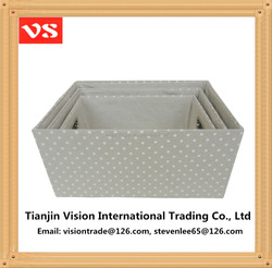 2016 new design!!! White dots design fabric storage boxes home decorative storage boxes / baskets