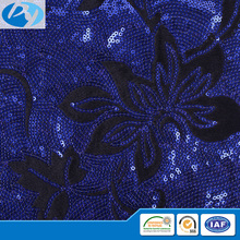 navy blue flower china suppliers sequins embroidery fabric