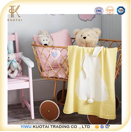 INS hot style bunny ears stereo blanket Children cotton knitted Throw blanket