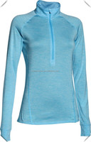 technical breathable performance mesh dry fit women's Raglan long Sleeves 1/2 zip pullover hoodie without string shirts