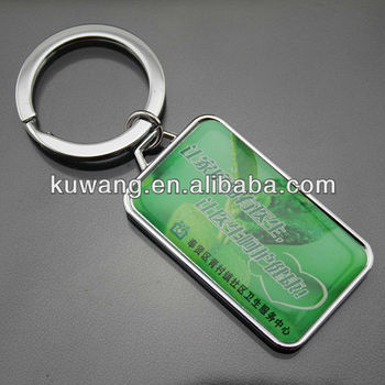 Cheap Promotional Epoxy Dome Rectangle Keychain